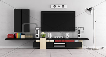 Modern living room room with TV wall unit