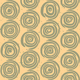 Vector Seamless Hand Drawn Geometric Lines Circular Round Tiles Retro Grungy Green and Tan Color Pattern