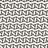 Vector Seamless Black and White Rounded ZigZag Line Circles and Rectangles Pattern