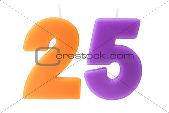 25th birthday candles isolated