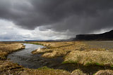 Dramatic panorama of a river in the South of Iceland