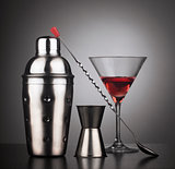 Drinks shaker with cocktail tools and glass