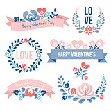 Valentines day floral elements set