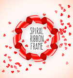 Round circle symbol frame of red spiral ribbon with hearts confetti