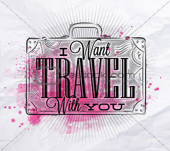 Tourist poster suitcase pink