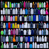 Large set of plastic bottles on black