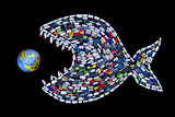 Garbage destroying world oceans and earth - concept