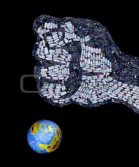 Fist made of plastic bottles crushing the planet