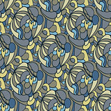 Abstract curve doodle seamless pattern