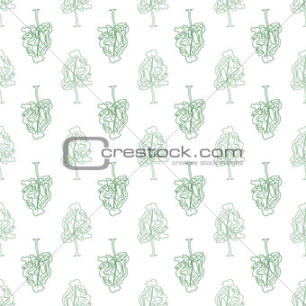 Abstract doodle trees seamless pattern