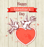 Two doves and red heart