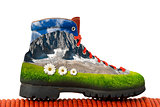 Climbing Boot with Mountain Inside