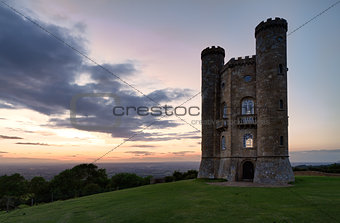 Broadway Tower with valley view after sunset Cotswolds, UK