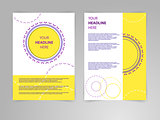 Abstract vector flyer s brochures design template in siza a4 with round ornamental frame.