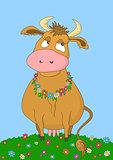 Cartoon cow on a meadow