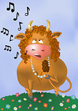 Cartoon cow sings a song