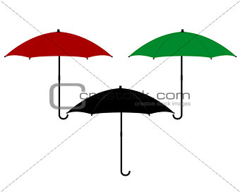 three umbrellas in different colors