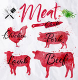 Set meat silhouettes