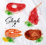 Set steak watercolor