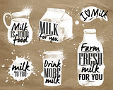 Milk symbolic drawing kraft