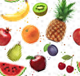 Pattern pixel fruits