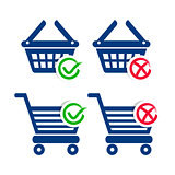 Shopping basket and cart icons