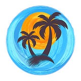 Sun and palm trees illustration