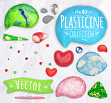 Set of plasticine objects
