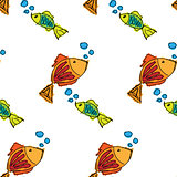 Fish contour hand drawn painted on a white background, seamless pattern