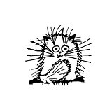 Funny fluffy cat, sketch for your design