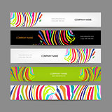 Set of banners, colorful zebra print design