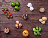 Fresh and healthy organic vegetables and food ingredients