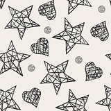 Seamless stars and hearts pattern.