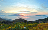 Sunrise summer mountain landscape ( Kefalonia, Greece).