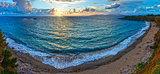 Mytikas Beach sunset panorama (Greece, Lefkada).