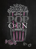 Poster popcorn sweet black