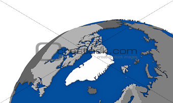 Arctic north polar region on Earth political map
