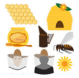 vector beekeeping icons