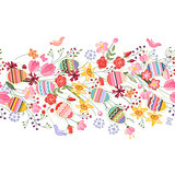 Seamless easter pattern brush with flowers and eggs