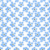 Seamless spring pattern with blue flowers forget me nots. Endless texture for your design, greeting cards, announcements, posters.