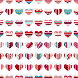 Seamless pattern with stylized hearts. Endless festive texture for your design, greeting cards, announcements, posters.