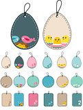 Set with easter tags with birds.