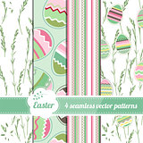 Collection of seamless green patterns with stylized painted eggs. Endless easter texture for spring design, announcements, greeting cards, posters, advertisement.