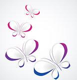 Vector paper butterflies