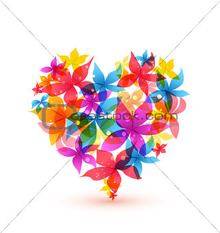 Abstract heart with flowers