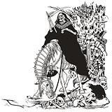 grim reaper in cemetery