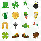 irish patrick day colorful cartoon icons set
