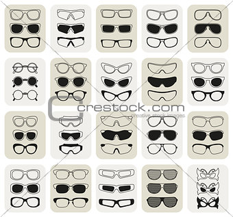 25 fashionable glasses simple vector icons set