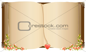 Old open book with bookmark in heart shape. Retro old book decorated with flowers
