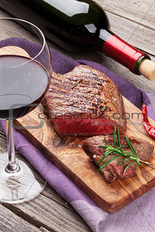 Grilled beef steak and red wine